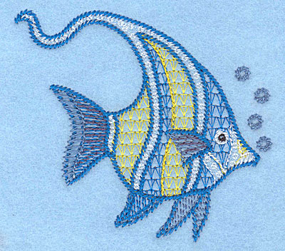 """Embroidery Design: Angelfish small  3.20""""h x 3.31""""w"""