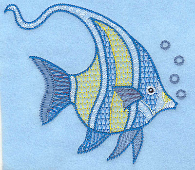 """Embroidery Design: Angelfish large  4.79""""h x 4.95""""w"""