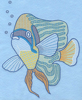 """Embroidery Design: Tropical fish E large  9.36""""h x 7.48""""w"""