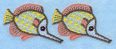 """Embroidery Design: Tropical fish duo  1.35""""h x 3.68""""w"""