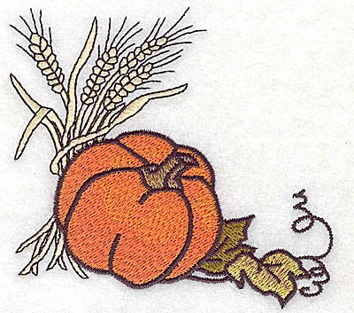 Embroidery Design: Wheat and pumpkin 3.87w X 3.71h