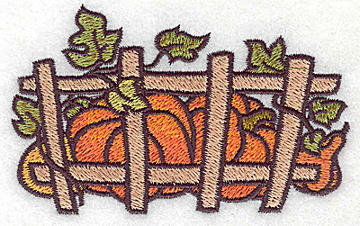 Embroidery Design: Pumpkins behind fence 3.86w X 2.40h