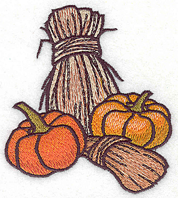 Embroidery Design: Bales of wheat and pumpkins 3.44w X 3.89h