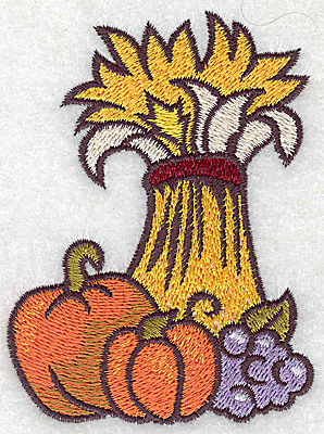 Embroidery Design: Wheat pumpkins and grapes 2.80w X 3.79h