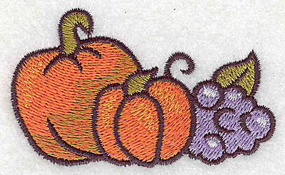 Embroidery Design: Pumpkins and grapes  3.02w X 1.83h