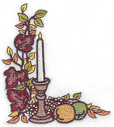 Embroidery Design: Candle fruit and foliage 3.44w X 3.86h