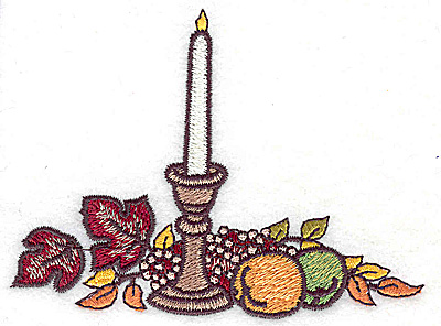 Embroidery Design: Candle fruit and foliage horizontal 3.98w X 2.95h
