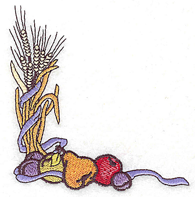 Embroidery Design: Wheat and fruit 3.66w X 3.85h