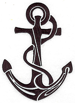 Embroidery Design: Tribal Motif Anchor with rope large 4.99w X 6.98h