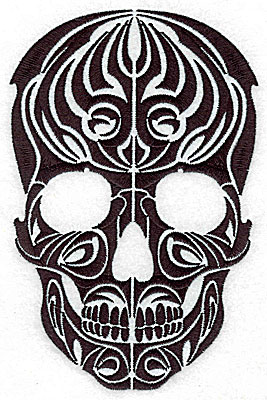 Embroidery Design: Tribal Motif Skull large  4.55w X 6.95h