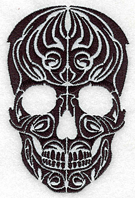 Embroidery Design: Tribal Motif Skull medium 3.24w X 4.95h