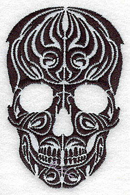 Embroidery Design: Tribal Motif Skull small 2.52w X 3.84h