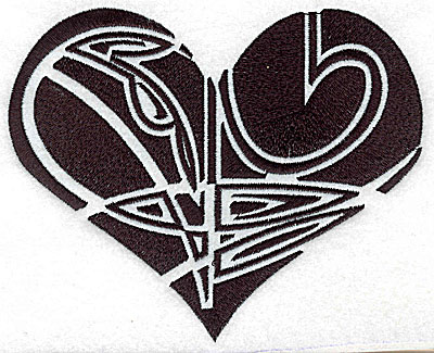 Embroidery Design: Tribal Motif Heart large 6.14w X 4.96h