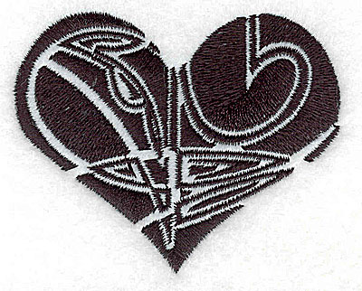 Embroidery Design: Tribal Motif Heart small 3.03w X 2.43h