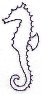 Embroidery Design: Sea horse outline large 1.90w X 4.45h