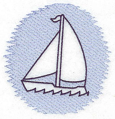 Embroidery Design: Sailboat Trapunto small 3.85w X 3.89h