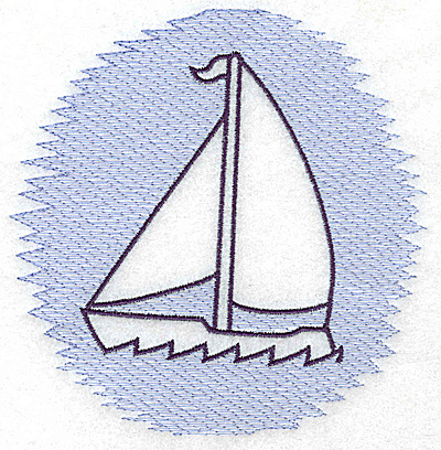 Embroidery Design: Sailboat Trapunto large 4.93w X 4.98h