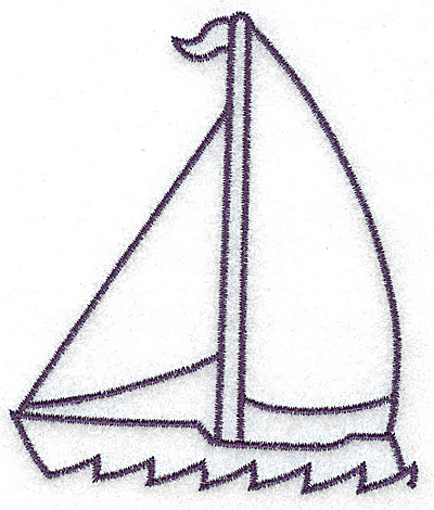 Embroidery Design: Sailboat outline large 3.17w X 3.74h