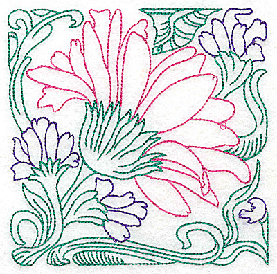 Embroidery Design: Tropical Flower E large 4.98w X 4.97h