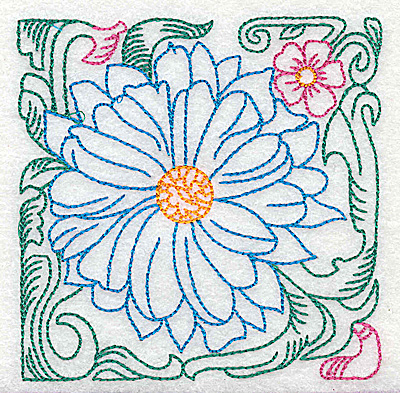 Embroidery Design: Tropical Flower J small 3.86w X 3.85h