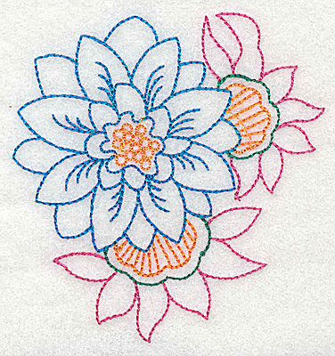 Embroidery Design: Tropical Flower B 3.51w X 3.69h