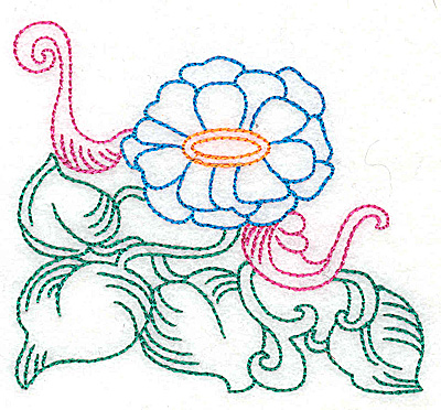 Embroidery Design: Tropical Flower H 3.81w X 3.47h