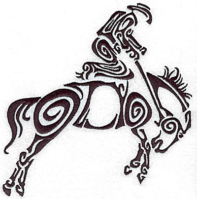 Embroidery Design: Rodeo horse and rider 1 large 6.77w X 7.04h