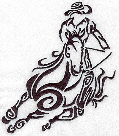 Embroidery Design: Rodeo horse and rider 2 large 6.05w X 7.03h