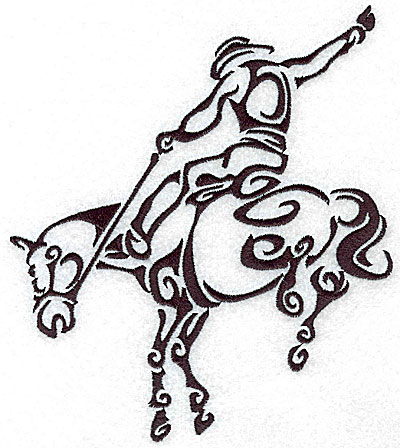 Embroidery Design: Rodeo horse and rider 4 large 6.04w X 7.01h