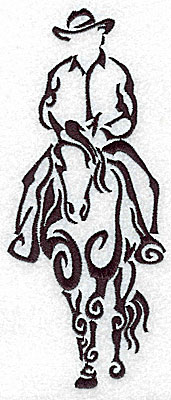 Embroidery Design: Rodeo horse and rider 6 large 2.94w X 7.01h