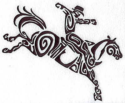 Embroidery Design: Rodeo horse and rider 7 large 8.60w X 6.97h