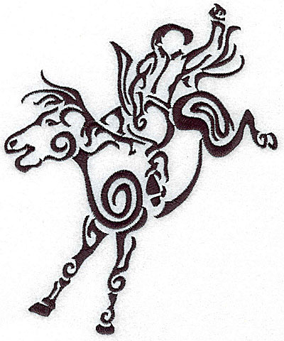 Embroidery Design: Rodeo horse and rider 8 large 5.75w X 7.02h