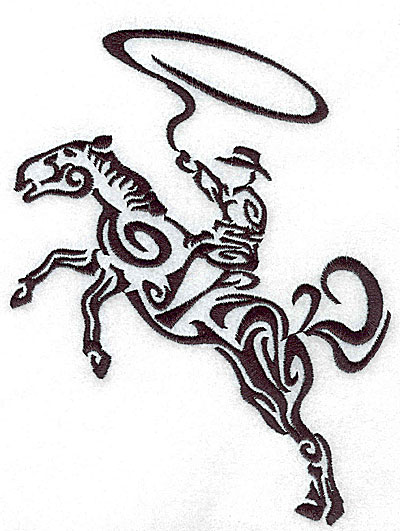 Embroidery Design: Rodeo horse and rider 9 large 5.42w X 7.03h
