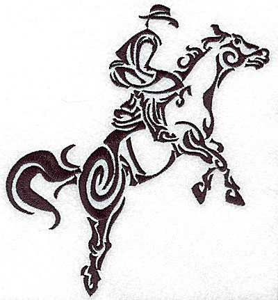 Embroidery Design: Rodeo horse and rider 10 large 6.35w X 7.02h