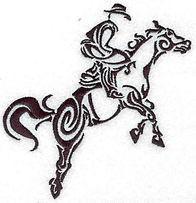 Embroidery Design: Rodeo horse and rider 10 medium 4.51w X 4.98h