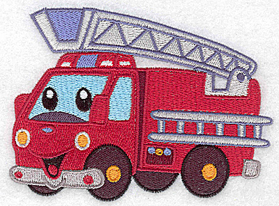 Embroidery Design: Fire truck large 4.95w X 3.68h