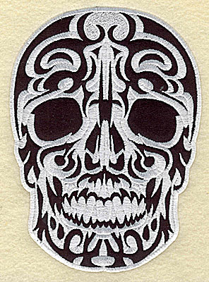 Embroidery Design: Tattoo Skull applique B medium 4.94w X 6.19h