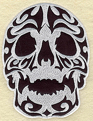 Embroidery Design: Tattoo Skull applique C large 6.06w X 7.94h