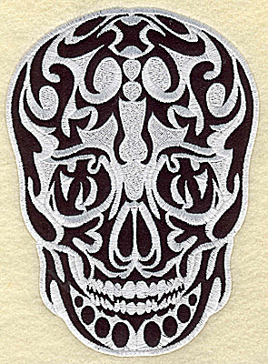 Embroidery Design: Tattoo Skull applique D large 6.19w X 8.50h