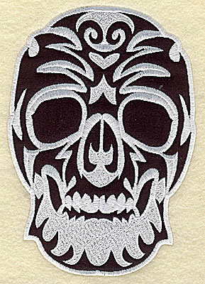 Embroidery Design: Tattoo Skull applique F medium 4.75w X 6.81h
