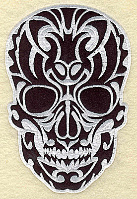 Embroidery Design: Tattoo Skull applique H large 5.75w X 8.50h