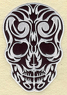 Embroidery Design: Tattoo Skull applique J small 3.75w X 5.44h