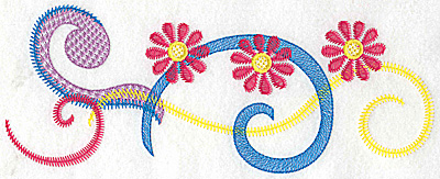 Embroidery Design: Floral trio and swirls large 9.76w X 3.71h
