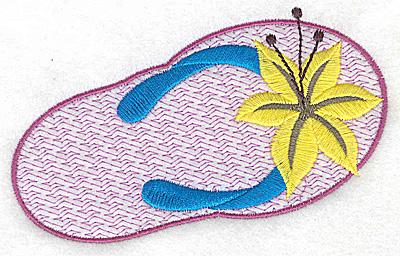 Embroidery Design: Floral flip-flop large 4.75w X 3.15h