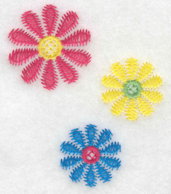 Embroidery Design: Floral trio small 2.56w X 3.00h