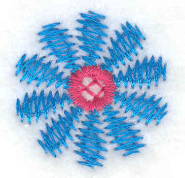 Embroidery Design: Blue flower small 1.01w X 1.04h