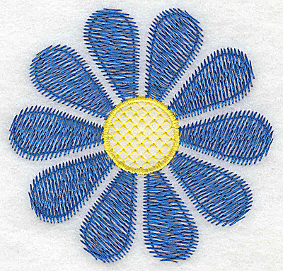 Embroidery Design: Blue flower large 3.41w X 3.52h