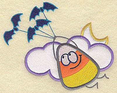 Embroidery Design: Candy Corn applique with bats medium 7.69w X 6.06h