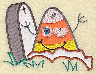 Embroidery Design: Candy Corn applique with tombstone large 9.56w X 7.38h