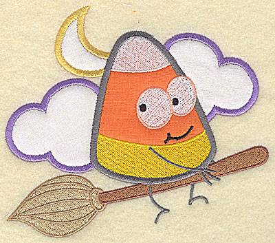 Embroidery Design: Candy Corn applique on broomstick small 5.63w X 4.88h